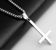 Fashion 316L Stainless Steel Inverted Cross Pendant Necklace Lucifer Satan Punk Jewelry Chain For Men Women Anti-Christian Gift