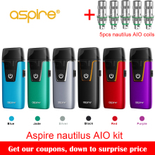 In stock!! Aspire Nautilus AIO kit newest aspire pod system kit with 1000mAh battery 4.6ml capacity pod vape kit vs breeze 2 kit(China)