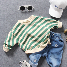 only t shirt 1pc new 2018 spring boys striped O neck loose t shirt boys long sleeve fashion style t shirt girls spring t shirt(China)