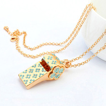 Love Whistle Austrian Crystal Long Necklaces Gold Color Fashion Jewelry For Women Chain necklaces Pendants Party Accessiories