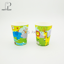 Party supplies 8PCS Jungle Safari Animals theme party decoration disposable tableware one-off paper cups cup glass glasses(China)