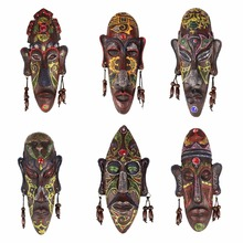 African-Masks Decoration Crafts Sitting Wall Resin Creative Home Gift Retro 2pcs 3D