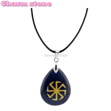 Handwork sculpture Czech republic pagan cooper mark fashion pendant Obsidian water drop shape natural crystal jewelry(China)