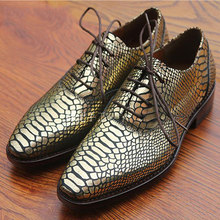 Latest mens goodyear welted shoes luxury gold python flats for men oxfords dress shoes hipster mens gold animal skin shiny shoes