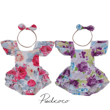 2017 Rose Red/Purple Newborn Infant Baby Girl Floral Romper Jumpsuit Outfits Sunsuit Clothes