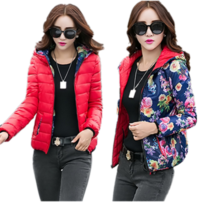 Winter New Women Short Cotton Padded Jacket Coat Female Slim Long-sleeved Both Surfaces Can Wear Outwear print hooded Down coat Одежда и ак�е��уары<br><br><br>Aliexpress