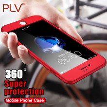 PLV 360 Degree Protection Case For iPhone 7 7 Plus Cover For iphone 5 5S SE 6 6s Cases Full Cover Slim + Screen Protector Glass(China)