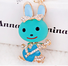 Super Cute Music Rabbit Guita Bunny Key Chain Pendant For Handbag Purse Ornmanet Accessory Excellent Gift For Friend(China)