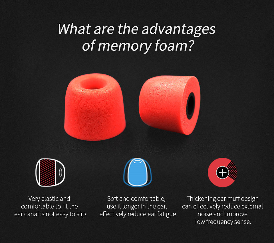 KZ_New_Upgrade_Original_3Pair_(6pcs)_Noise_Isolating_Comfortble_Memory_Foam_Ear_Tips_Ear_Pads_Earbuds_For_In_Earphone_Headphones_Red_Blue (2)