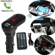 AIKEGLOBAL Hifi Bluetooth Wireless FM Transmitter MP3 Player Handsfree Car Kit USB TF SD Remote Car Transmitter