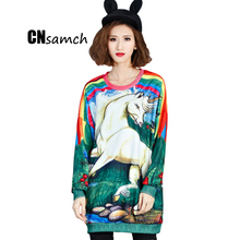 CNsamch European Station Fashion Sweater Loose Large Size Fat MM Sister Cover Belly Dress Female Autumn Winter Women Clothes