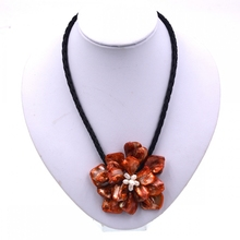 2017 New Arrival Fashion Jewelry Orange shell flower necklace with white freshwater pearl women Hot selling(China)