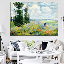 Print Claude Monet Poppies at Argenteui Landscape Oil Painting on Canvas Art Wall Picture Impressionist for Living Room Cuadros(China)
