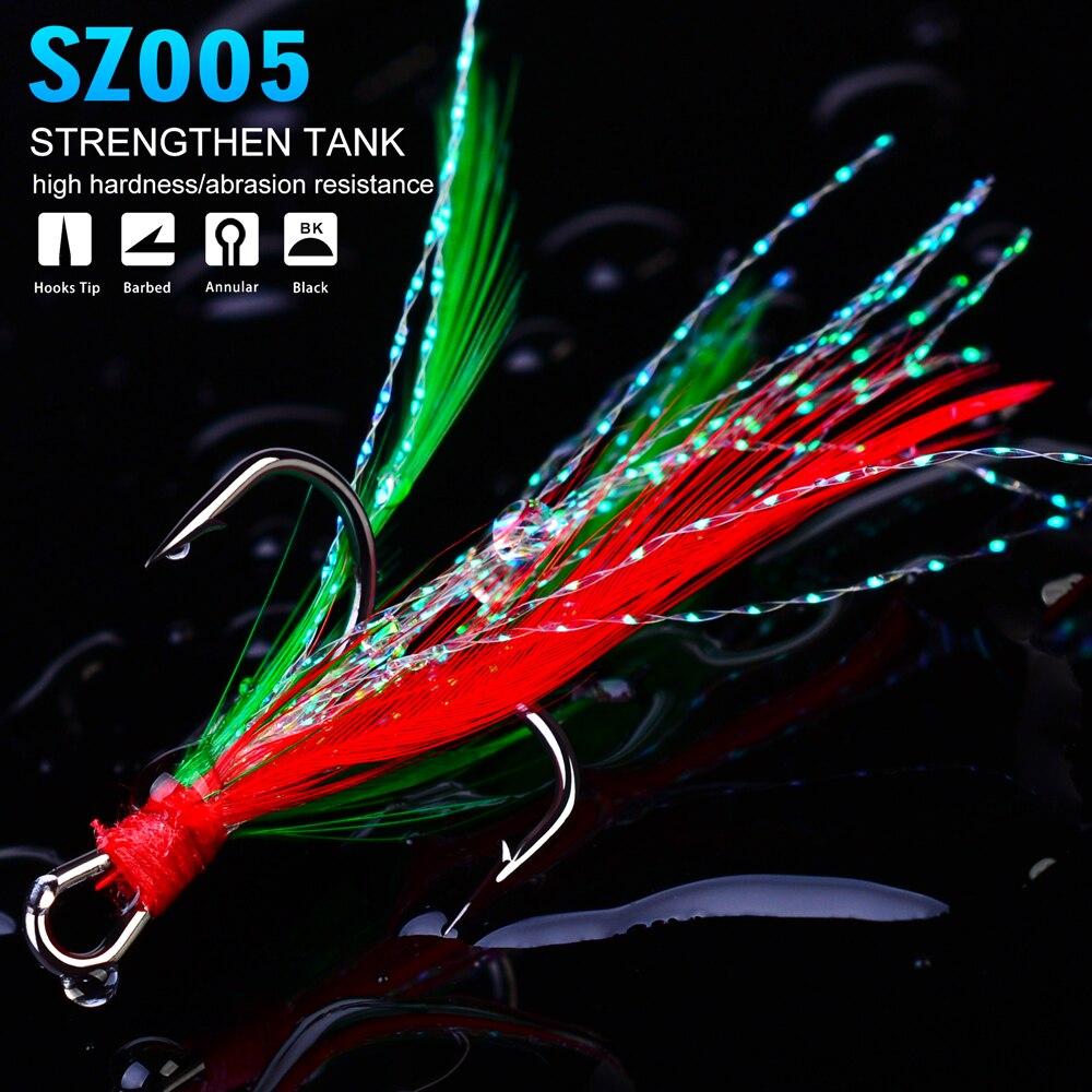 100Pcs Fishhook Carbon Steel Fishing Hooks Jigging Treble Hooks 2# 4 # 6# 8# 10#