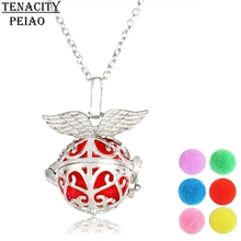 Silver Angel Aromatherapy Locket Necklace With Ball Pad Women Perfume Fragrance Essential Oil Diffuser Necklace Hollow Locket