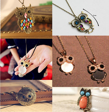 Fashion Hiphop Vintage Gold/Silver Plated Owl Long Necklaces & Pendants for Women Etnicos Jewelry Bijoux Femme Accessories