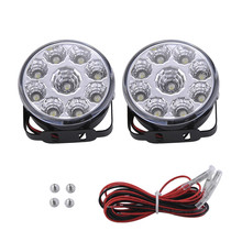 2pcs White 12V 9 LED DRL Round Daytime Running Light Car Tail Fog Day Driving Lamp for Truck Van SUV ATV Motorcycle Bike