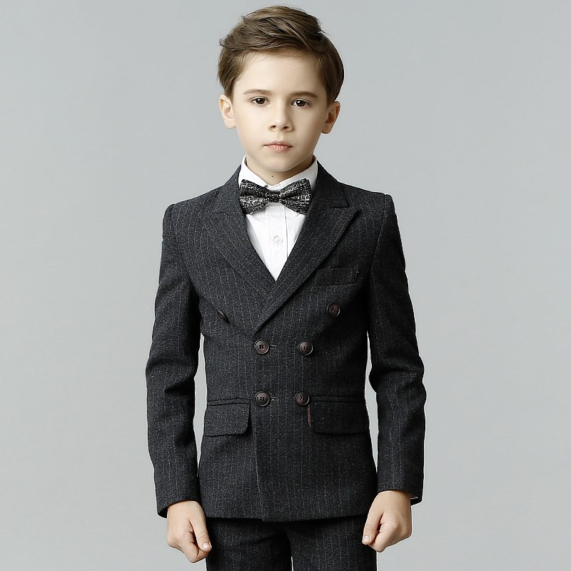 High Quality Kids boys fashion suits for weddings striped navy blue boys wedding suit formal suit kids boy handsome suits blazer