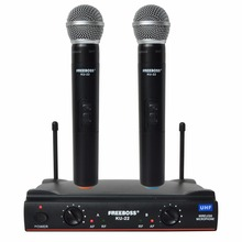 Freeboss KU-22 UHF Long Range Dual Channel 2 Handheld Mic Transmitter Professional Karaoke UHF Wireless Microphone System(China)