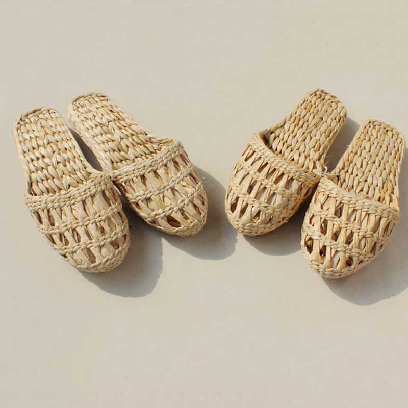 Handmade Unisex Natural Straw Slippers Shoes Sandals Summer Indoor Footwear