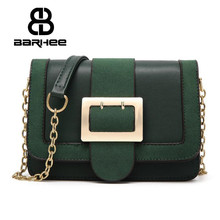 BARHEE Vintage Women Messenger Bag Faux Suede Leather Handbag Ladies Hand Bag Chain Strap Fashion Retro Mini Crossbody Sling Bag