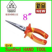 "BESTIR TAIWAN BRAND VDE Cr-V insulated 8"" Long Nose Plier wire cutting stripper electric hand tool,NO.10193 wholesale freeship"