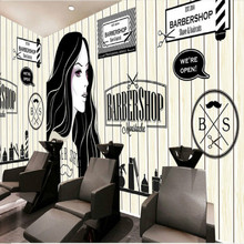 European and American retro wood barber shop beauty shop large mural 3D wallpaper bedroom living room TV stereo 3D wallpaper