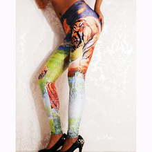 2017 Fashion Tiger Grassland Water Printing Leggings Women High Waist Sexy Slim Polyester Trousers Female Fitness Pants WL029