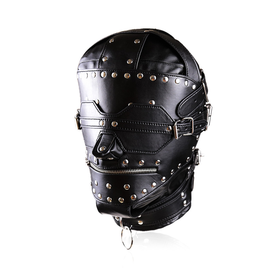 High Quality PU Leather Full Gimp Hooded Mask Locking Blindfold Zipper Open Mouth Heads Restraint Slave BDSM Bondage Sex Toys<br>