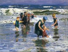 Edward Henry Potthast paintings of In the Surf II modern art Landscape High quality Hand painted(China)