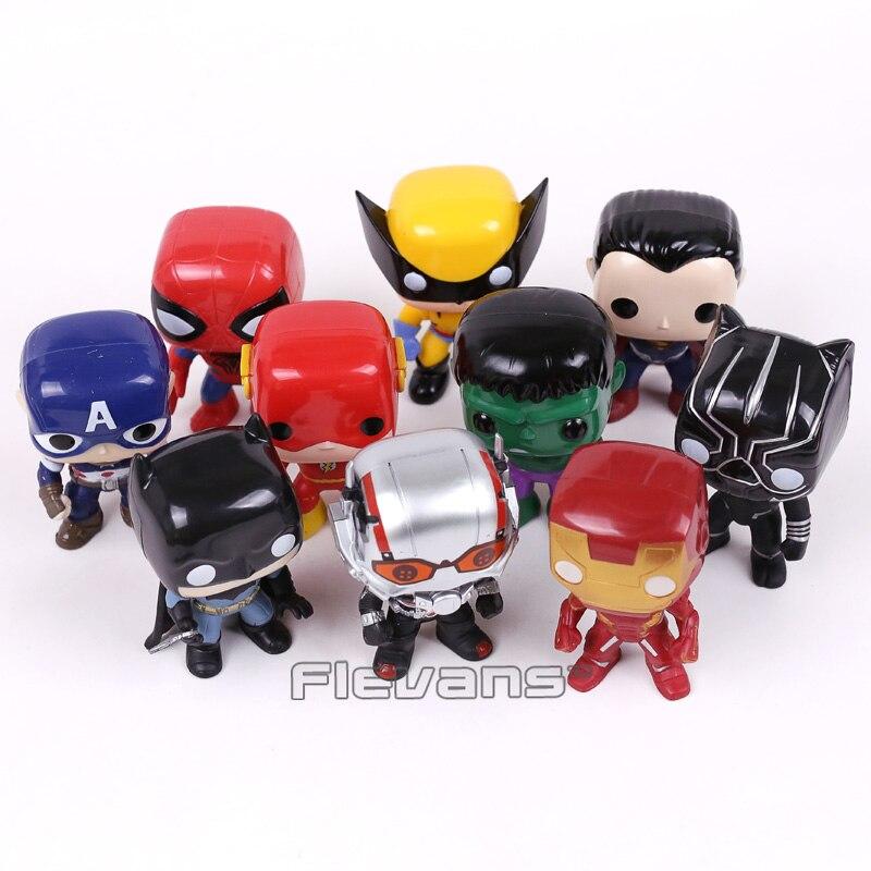 Super Heroes Superman Batman Spiderman Captain America Iron Man Ant Man Hulk Logan Black Panther The Flash Figure Toys 10pcs/set<br>