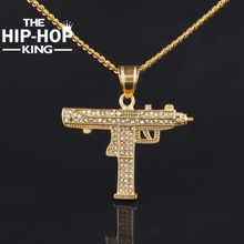 Hip Hop Gun Pendant Necklace For Men Women Gold Color Ice Out Cz Diamonds CSGO Charm Pendant Fine Quality Gold Cuban Chain