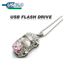 2015 Color Silver 4GB 8GB 16GB 32GB 64GB U Disk crystal car pen drive rectangle USB 2.0 usb Flash Drive memory stick pendrive(China)