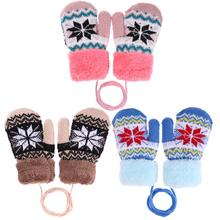 Warm Comfortable Cute Winter Baby Kids Boy Girl Knitted Elastic Thickened Ski Casual Mittens Gloves Full Finger Mittens for Kids(China)