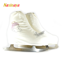 24 Colors Child Adult Velvet Ice Figure Skating Shoes Cover Roller Skate Fabric Cover Accessories White Angel Rhinestone(China)