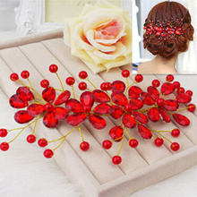 New and hot!  Women's Red Flower Wedding Bridal Party Accessary Handmade Hair Pin Clip Jewelry