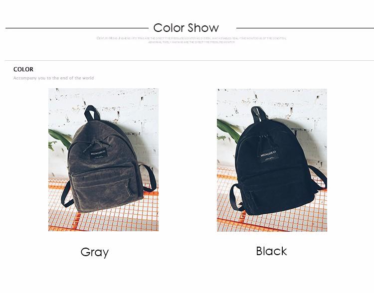 2016 New Women Backpack Preppy Style Suede Backpacks Teenage Girls School Bags Vintage Rivet Travel Backpack Burgundy Gray Black (1)