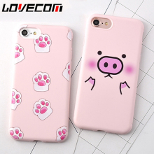 LOVECOM Cartoon Pink Cute Pigs Soft TPU Phone Back Cover Case For iPhone 6 6S Plus Mobile Phone Bags & Cases