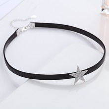 New Fashion Retro OL Temperament Flashing Five-pointed Star Zircon Short Chain Ladies Fashion Choker Necklaces Jewelry(China)