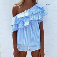 Buy Fashion Women T-shirt Summer Loose Cotton Striped Ruffles Sexy Ladies Top Short Sleeve Womens Clothing Casual Female T-Shirt for $4.65 in AliExpress store