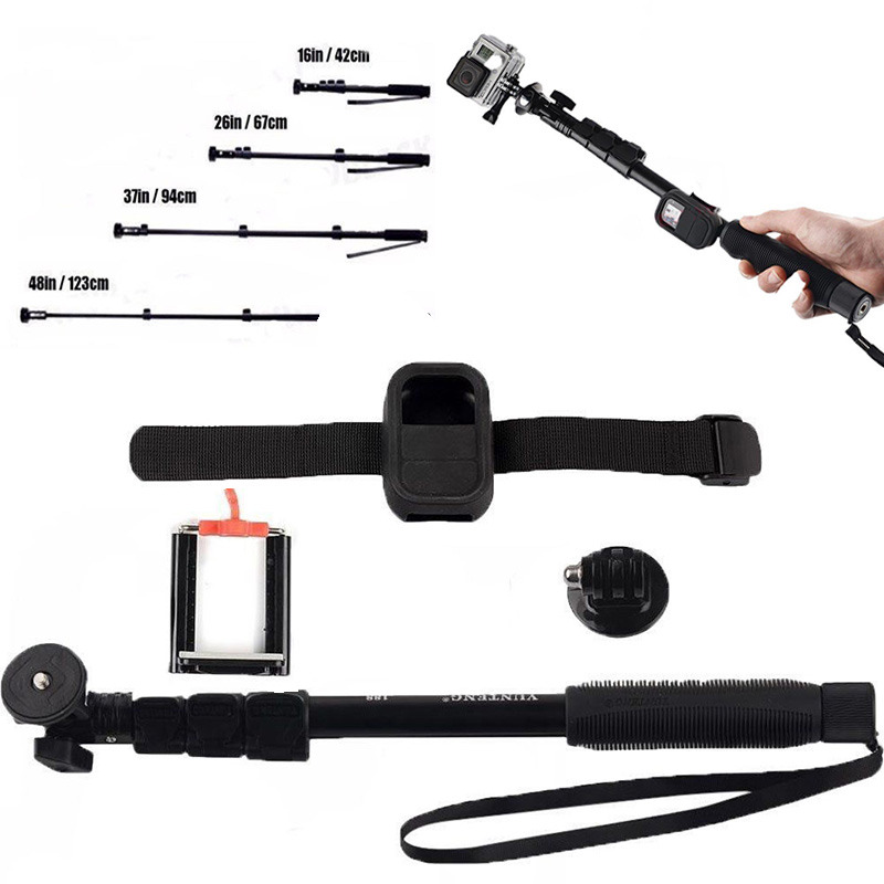 Action Camera Accessories Extendable Mount Monopod Kits Pro WIFI Remote Strap Selfie Monopod Adapter for GoPro Hero 2 3+ 4