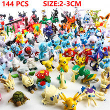 144 Pcs/lot 2-3 cm   Pikachu Action Figure Toys Japanese Cartoon Anime Mini Collections Birthday Gifts Cartoon doll toy