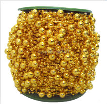72m/roll gold color Pearl Beads Garland Wedding Centerpiece flower/table Decoration DIY accessory