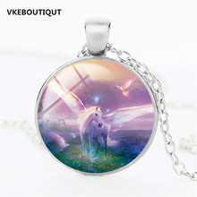 New Unicorn and Pegasus Necklace Unicorn Glass Pendant Jewelry Glass Art Cabochon Fantasy Style Art Gift for Girl