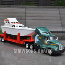 1:64 DIECAST VEHICLE MODEL TOYS KENWORTH T600A TRAILER TRUCK WITH YACHT BOAT REPLICA COLLECTION