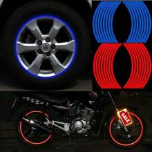 16 Strips Polyethylene Terephthalate Wheel Sticker Reflective Rim Stripe Tape Bike Motorcycle Car sticker Strips(China)