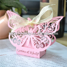 most popular products on the market gift box ,laer cut wedding box with big butterfly design(China)