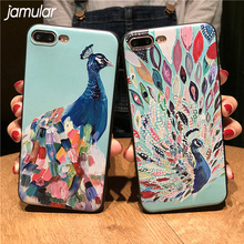 JAMULAR Beautiful Peacock 3D Embossing Silicone Case For iphone X 6S 6 Plus 5S SE Relief Soft Cover For iphone 8 7 Plus Cases(China)