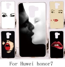 Hard Plastic&Soft TPU Phone Cover For Huawei Honor7 Honor 7 Back Cover DIY Print with Sexy Girl Lips Telephone Accessories