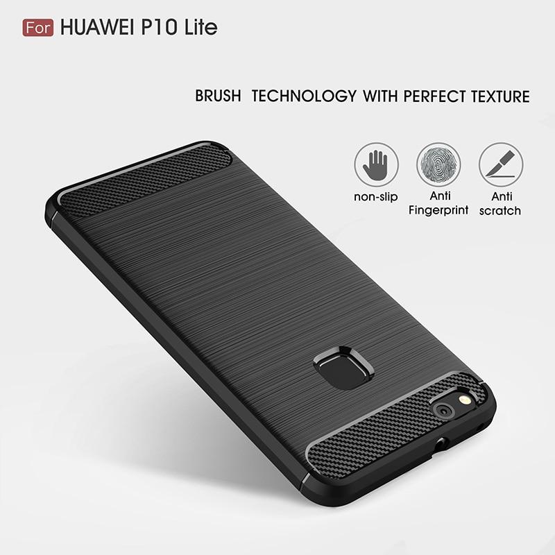 carbon fiber brushed silicone case huawei P10 Lite (2)